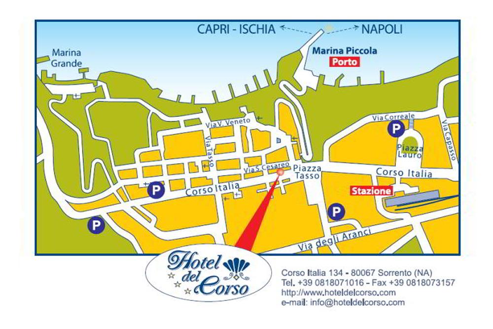 Mappa Parcheggi Hotel del Corso Sorrento